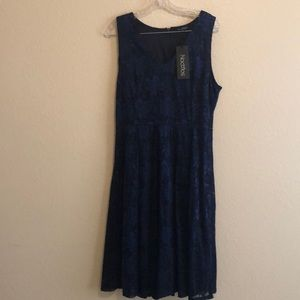 Sleeveless Lace V Neck Dress Navy Blue Sz XL